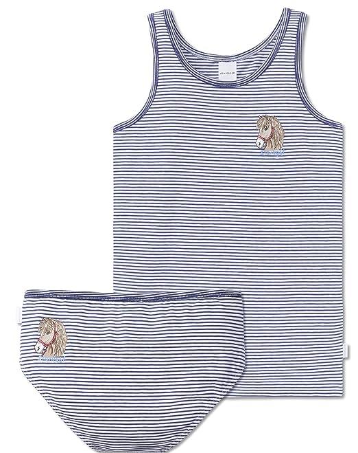 d07b21b6ad Schiesser Mädchen - Pferde Unterwäsche Set Unterhemd + Slip aus Serie  Pferdewelt Blau gestreift(116