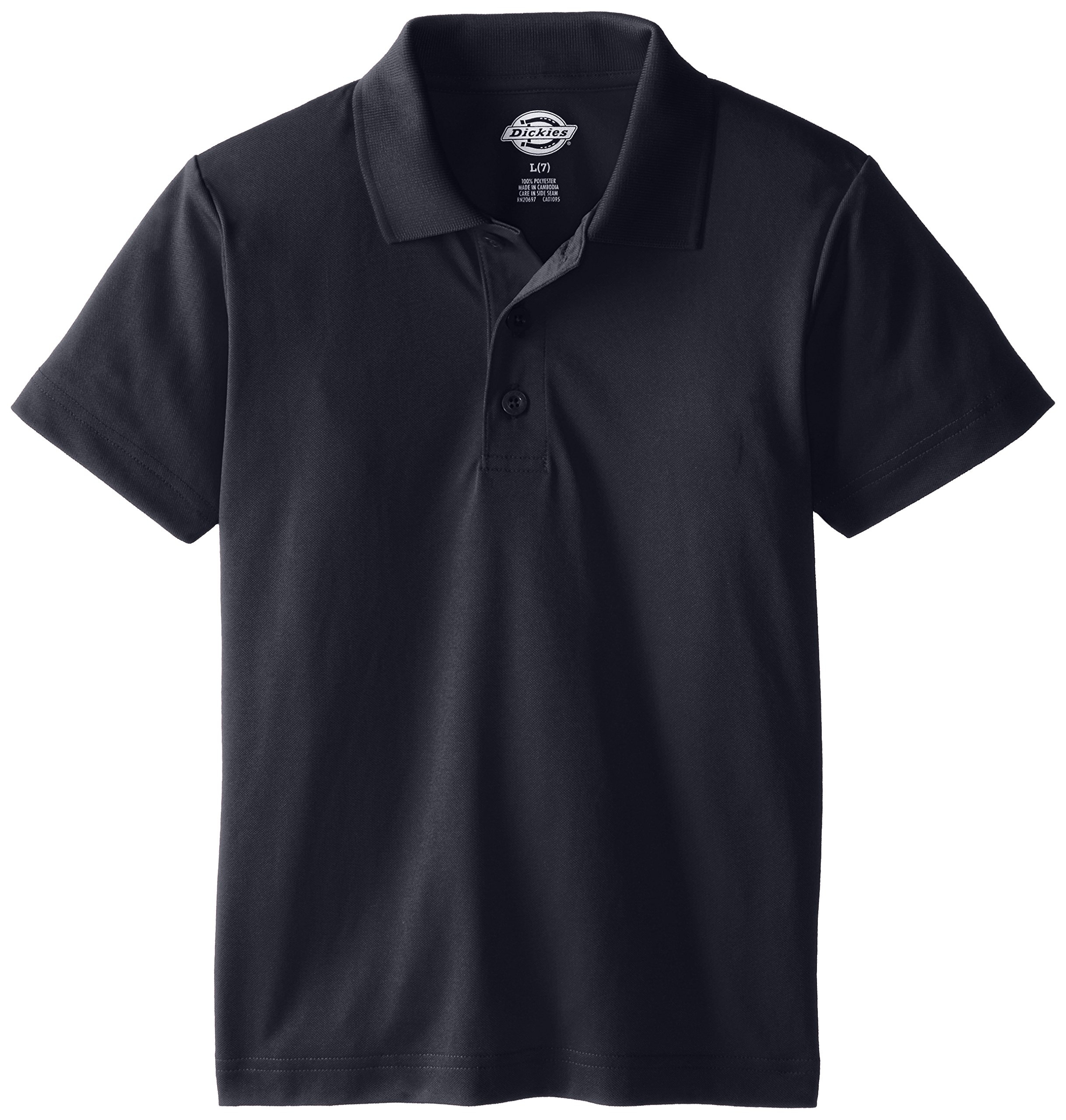 Dickies Big Boys' Short Sleeve Performance Polo Shirt, Black, X-Large (18/20)