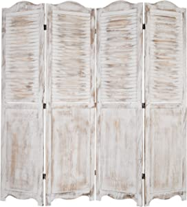 MyGift 4-Panel Antique Whitewashed Wood Louvered Room Divider Screen with Dual-Action Hinges