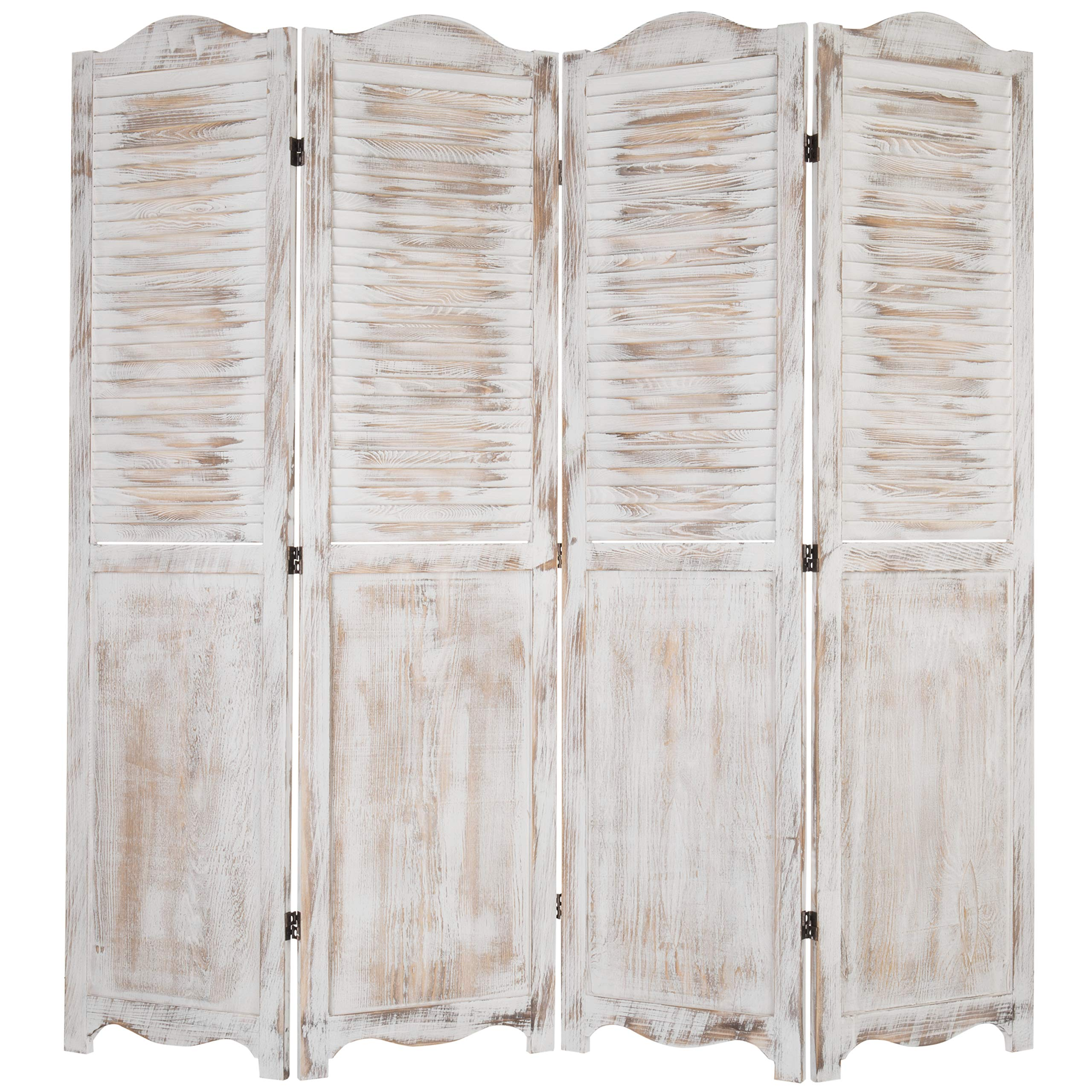 MyGift 4-Panel Antique Whitewashed Wood Louvered Room Divider Screen with Dual-Action Hinges by MyGift