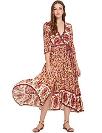 0338a422e1 Milumia Women s Bohemian Tribal Deep V Neck Flounce Hem Flare Wrap Long  Maxi Dress Small Multicolor