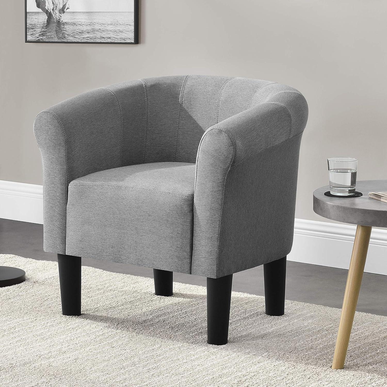 [en.casa]®] Sillón Relax Elegante Butaca 70x70x58 cm Asiento cómodo 100% Poliéster Gris Claro