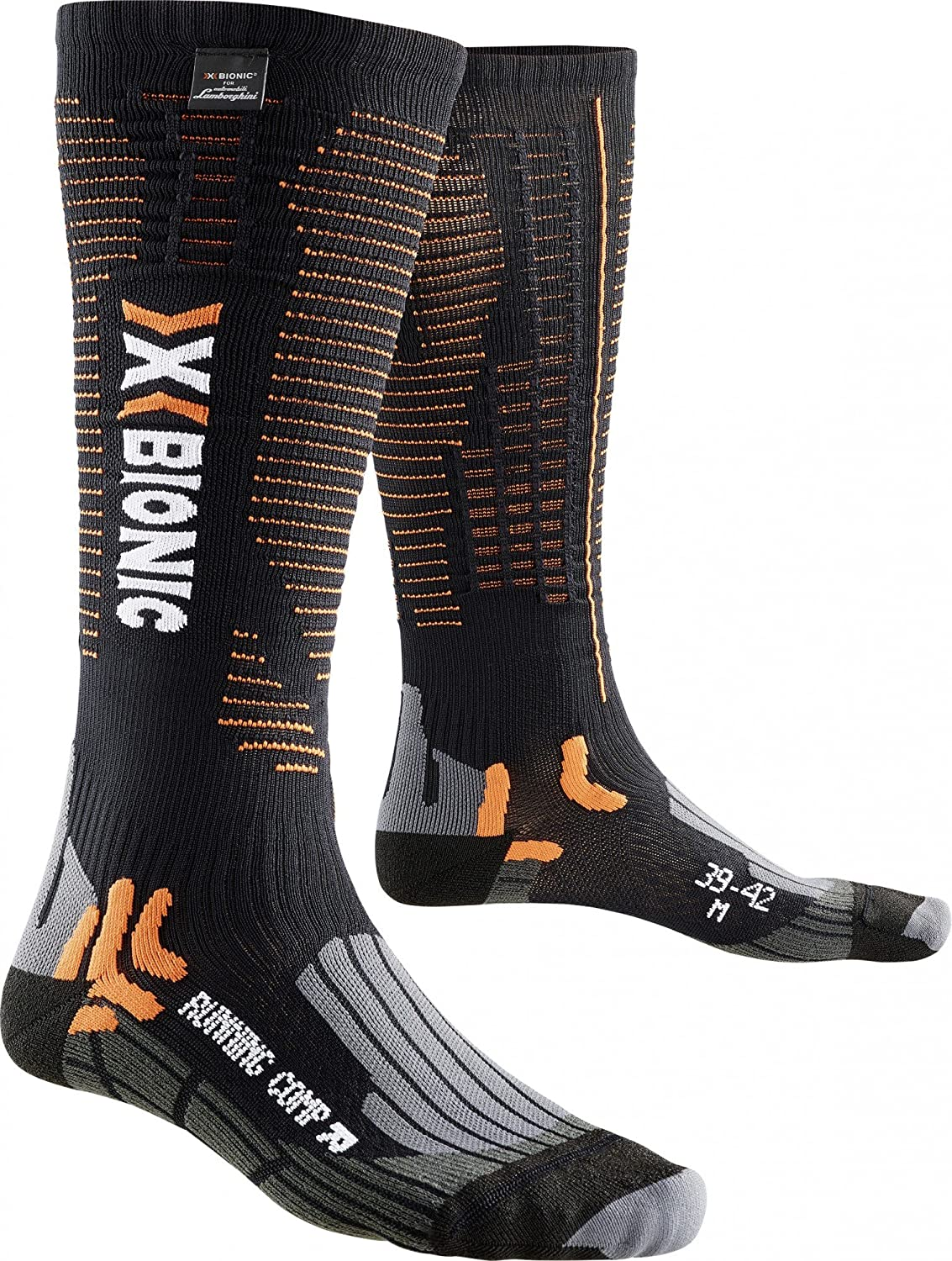 TALLA 39/42M. X-Bionic X-Socks Hombre Running Competition for Lamborghini Calcetines, Hombre, Running Competition For Lamborghini, Black/Orange