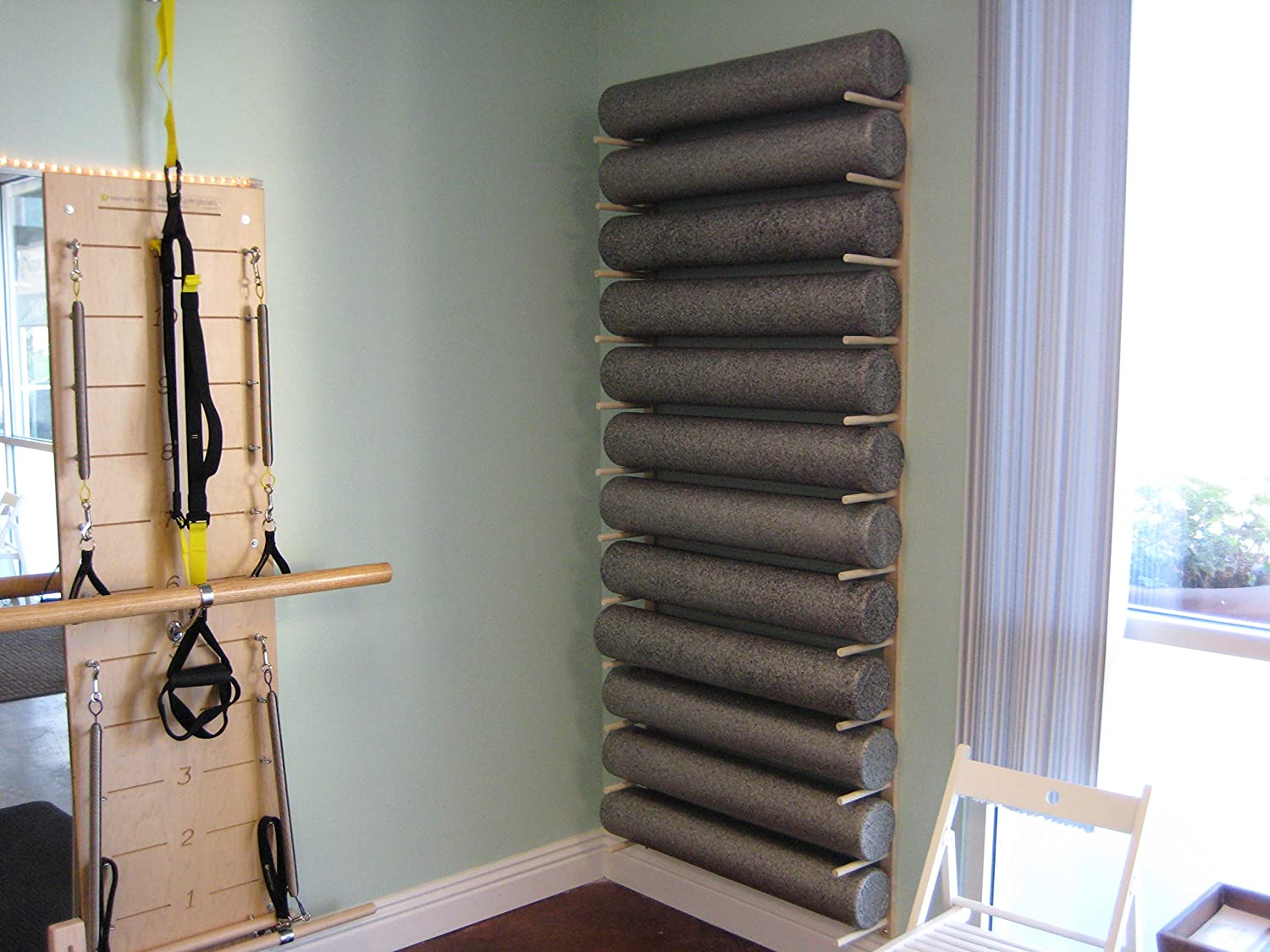 Amazon Com Foam Roller And Yoga Mat Storage Rack Wall Mount In Sustainable Hardwood 24 3 Space Sports Outdoors