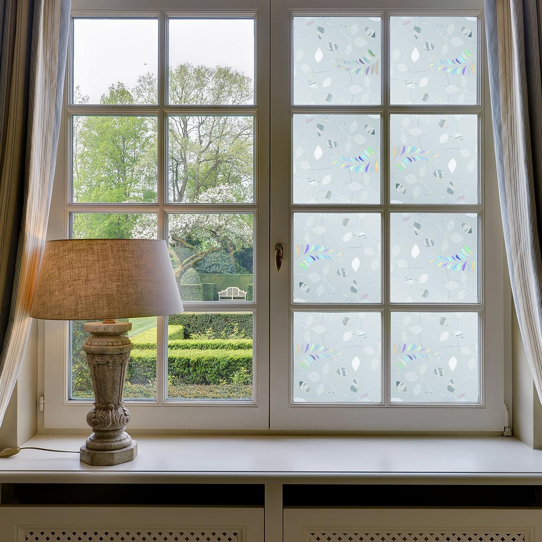 Ezigoo Vinio para Ventanas No Adhesivo – Película para Ventanas 3D Decorativa Protección Anti-UV 44x210cm