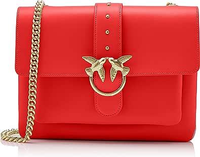 Pinko Big Love Simply 1 Tracolla Vitello Seta+borchiette, Bandolera para Mujer, rojo, 6x21x29 centimeters (W x H x L)