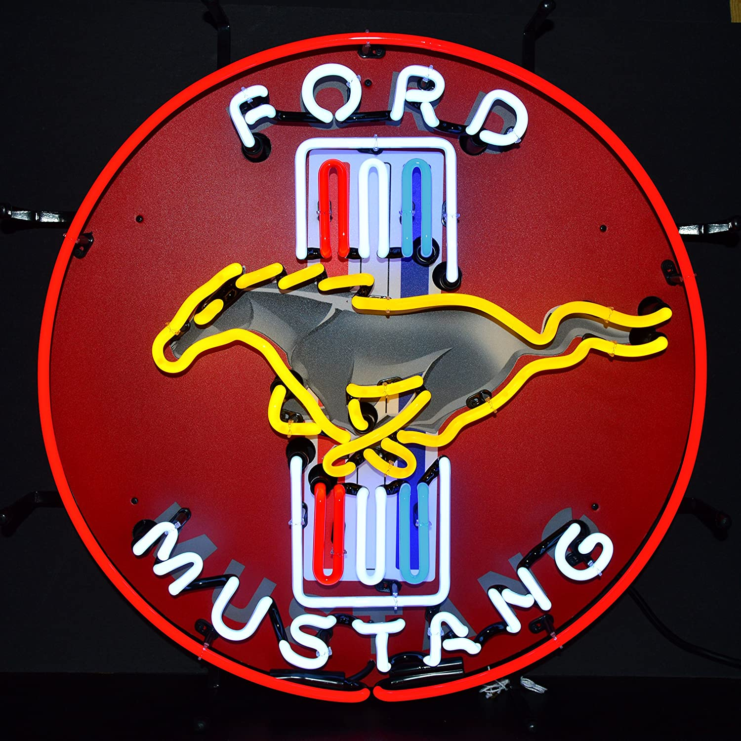 Amazon Com Neonetics Ford Mustang Red Neon Sign With Backing Home Kitchen