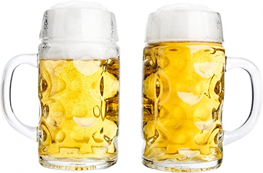 Augenkrug Bierkrug Humpen 1 Liter Maßkrug aus Glas Glasbierkrug Biermaßkrug