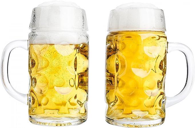 Van Well conjunto de 2 jarras de medio litro, graduado a 0,5L, jarras de cerveza con asa, apto para lavaplatos, se presta perfectamente para la gastronomía: Amazon.es: Hogar