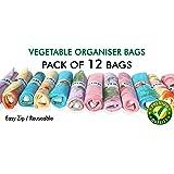 Ganapati Fridge Storage Net Bag, Multicolour - Pack of 12 (9.5 x 15 Inches)