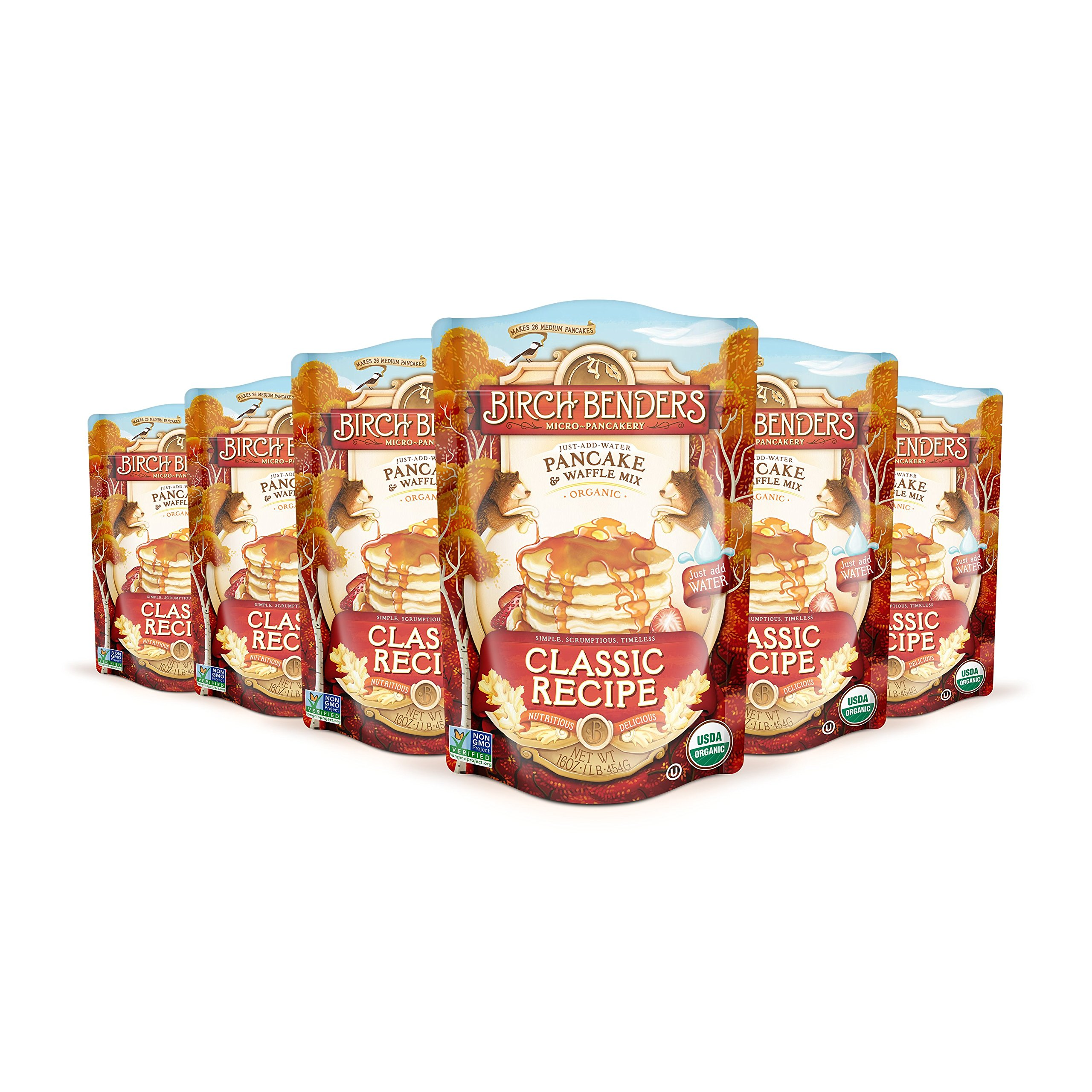 Birch Benders Organic Classic Recipe Pancake and Waffle Mix, 16 Ounce - 6 per case.