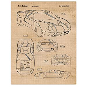 Vintage Ford GT40 Patent Poster Prints, Set of 1 (11x14) Unframed Photo, Wall Art Decor Gifts Under 15 for Home, Office, Garage, Shop, Man Cave, College Student, Mechanic, American Cars & Coffee Fan