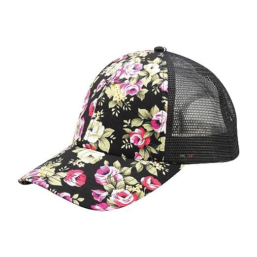 275a2f563 MG Women's Floral Print Mesh Baseball Cap-7655M