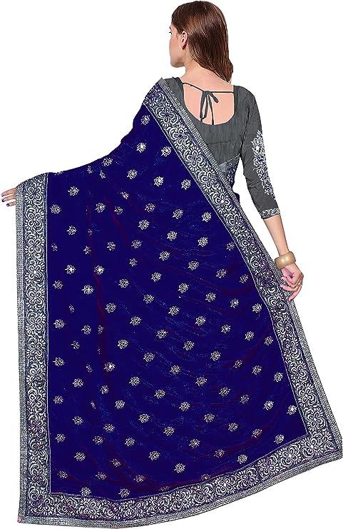 Nivah Fashion Womens Satin /& Net Half N Half Embroidery work With Real Diamonds Material Saree