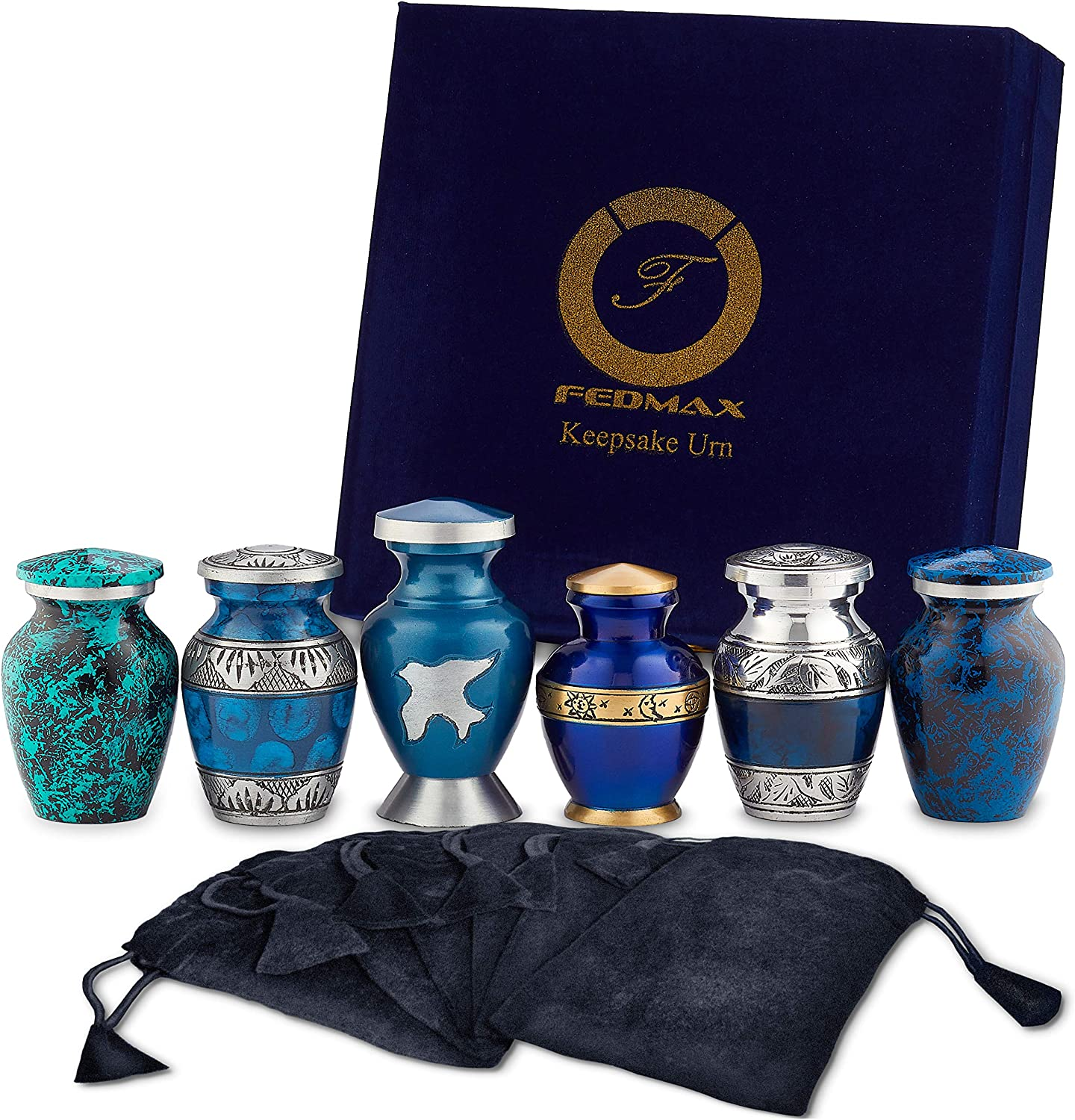 Well Lived® Blue Metallic Small Keepsake Cremation Urn for human ashes