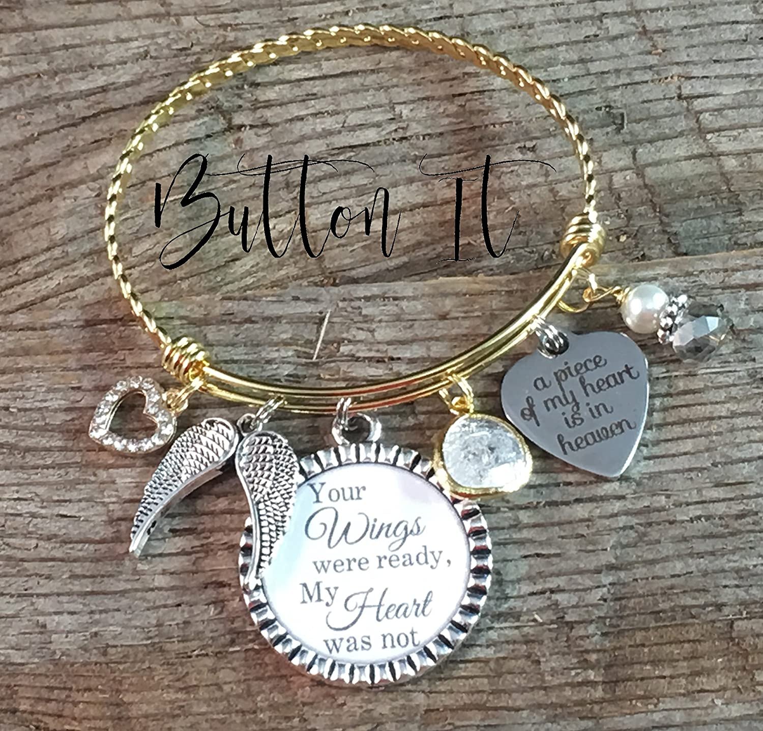 PAW PRINT Expandable Wire Bangle Bracelet with Angel wing Charm Silver Finish Gift Boxed