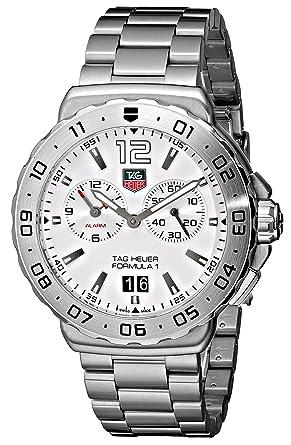 Tag Heuer Men S Wau111b Ba0858 Formula 1 White Dial Grande Date Alarm Watch