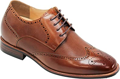 Amazon.com | CALTO Men's Invisible Height Increasing Elevator Shoes - Brown  Premium Leather Wing-tip Lace-up Formal Oxfords - 3 Inches Taller - Y10652  | Oxfords