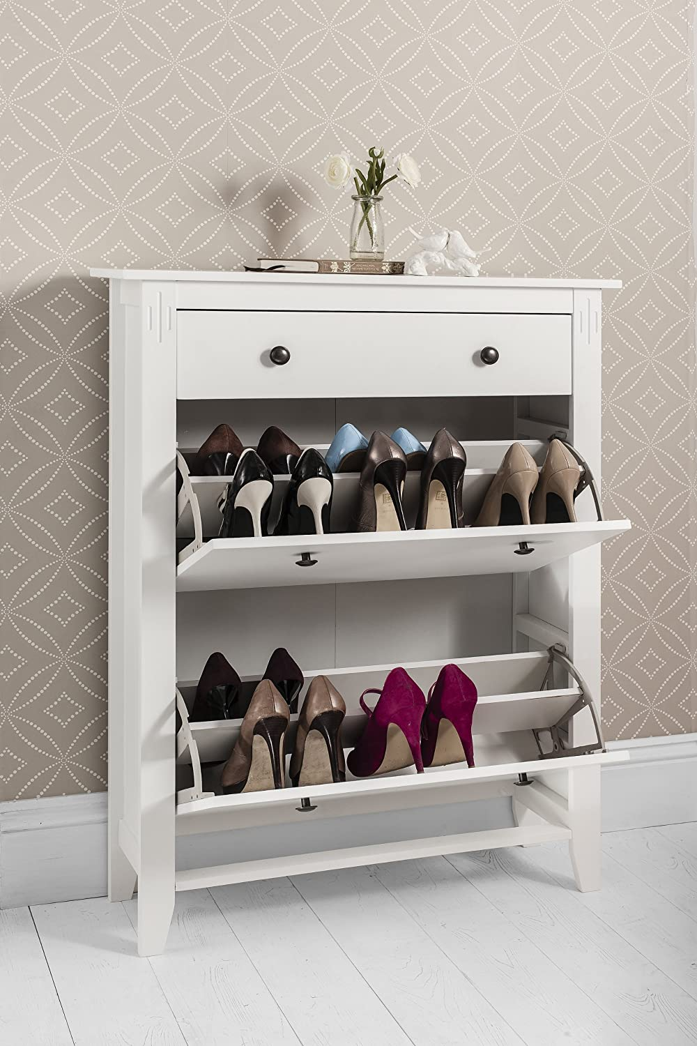 Shoe Storage Cabinet Deluxe with Storage Drawer Cotswold in White ...