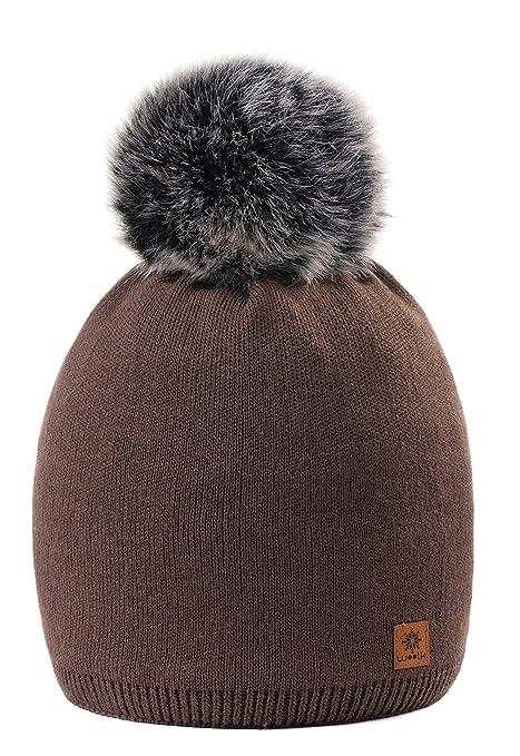 MFAZ Morefaz Ltd Winter Beanie Invernale Berretto Donne Cappello Liscio Pom  Pom Fodera in Pile Hat 310f4e2935f3