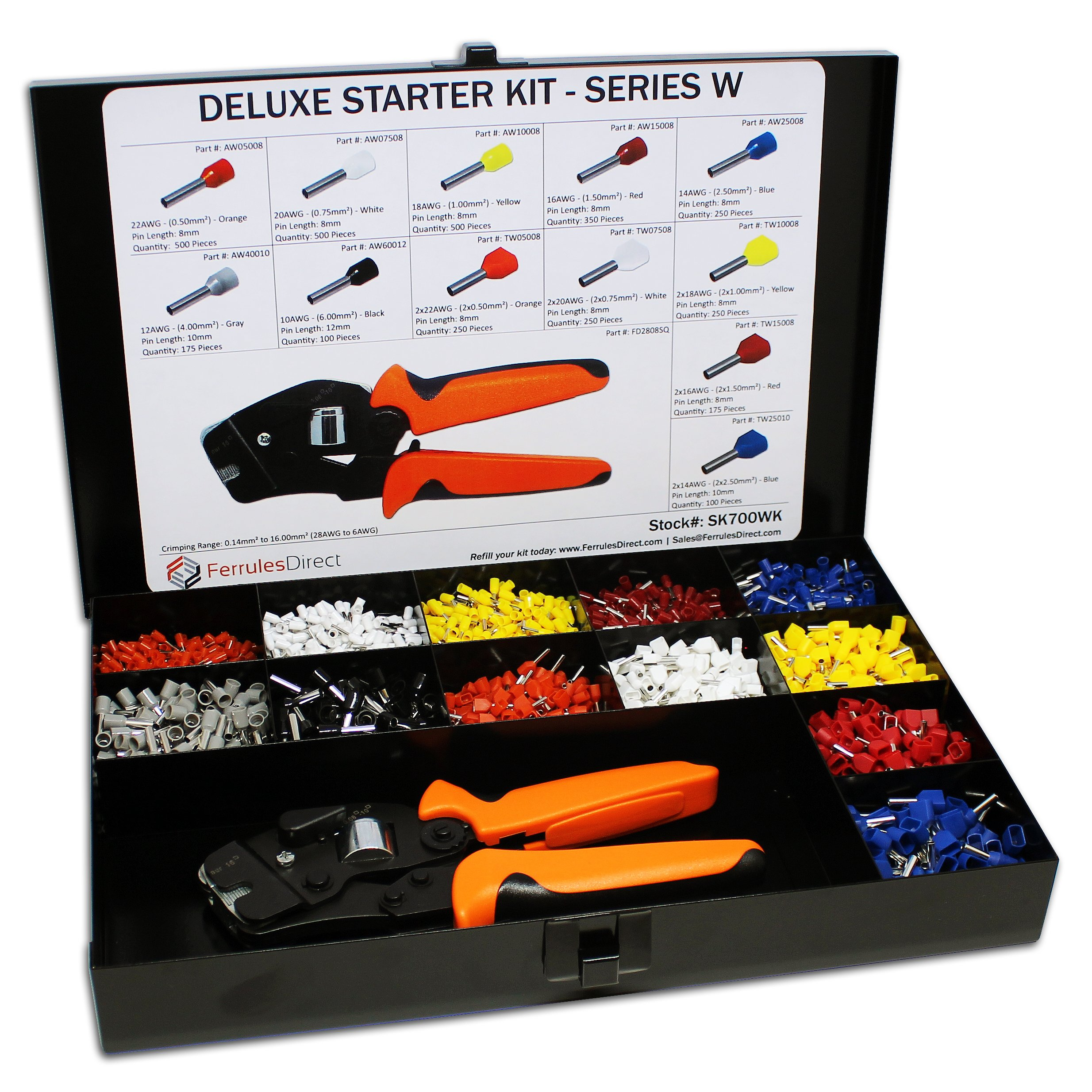 3450 Piece Wire Ferrules Starter Kit with Self Adjusting Tool 22 AWG to 10 AWG Insulated Connectors-SK700WK