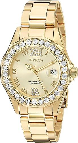Pro Diver Invicta Reloj De Acero Inoxidable De Mujer 15252 Con Revestimiento Iónico Dorado Con Esfera De Oro Watches