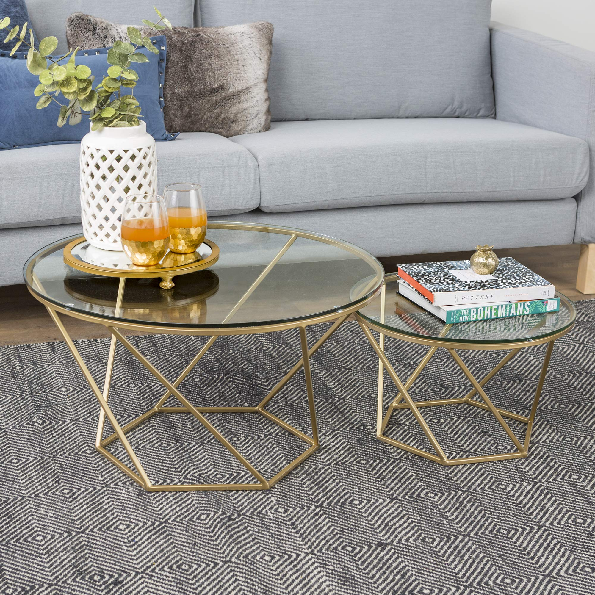 WE Furniture AZF28CLRGGGD Modern Round Nesting Coffee Accent Table Living Room, Set of 2, Gold by WE Furniture