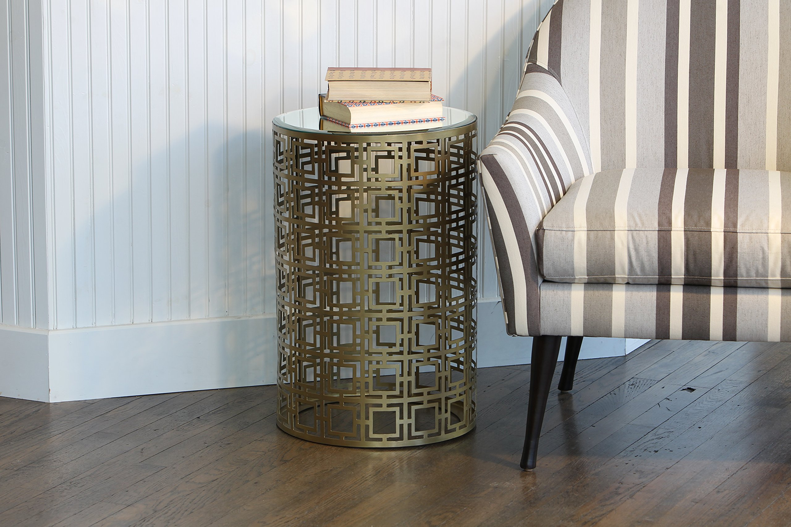 Knox and Harrison Round Occasional Accent Table with Pierced Geometric Pattern in Antique Brass Finish