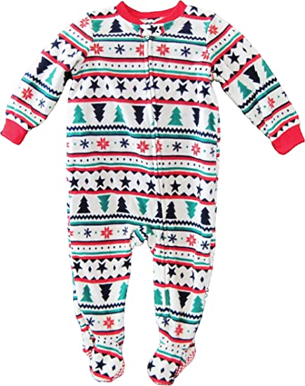 Carters Baby Boys 12M-24M One Piece Striped Holiday Fleece Pajamas 18 Months