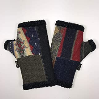 product image for Baabaazuzu Striped Red, Blue, Green & Yellow Patterned Women's Upcycled Wool Arctic Fingerless Gloves (Made in USA, Fleece-Lined)