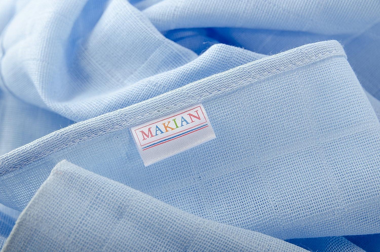 Muselina / Paño / Gasa algodón bebé - 5 Ud., 70x70 cm, azul, blanco | Tejido doble con bordes reforzados, lavable a 60°, certificado OEKO-TEX Standard 100: ...