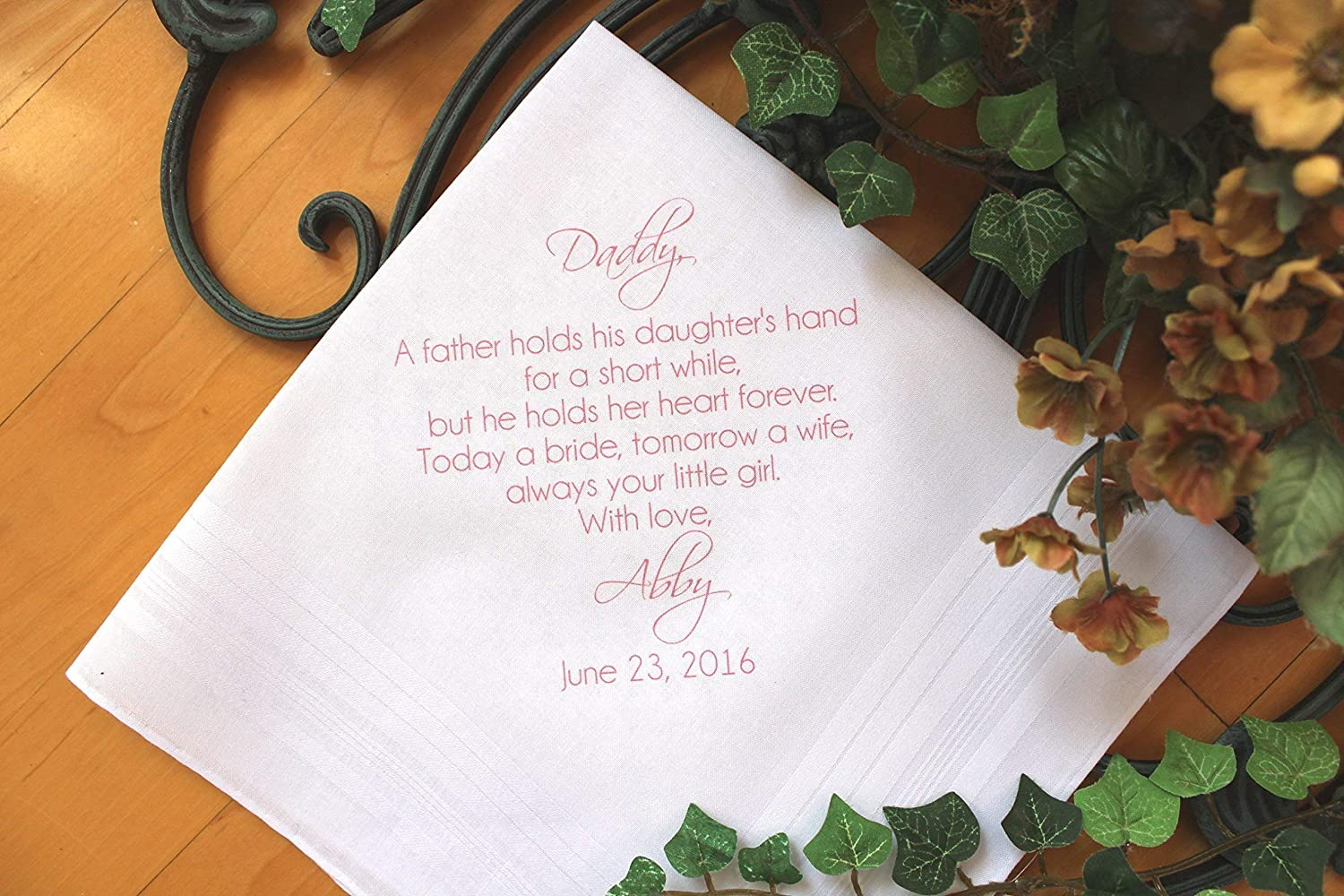 Father of the Bride handkerchief, PRINTED, Wedding handkerchiefs. Gift and Momentos. A father holds his daughter, your little GIRL, Dad Gift,Personalized. GMS2FCHA by Snugahug[190]
