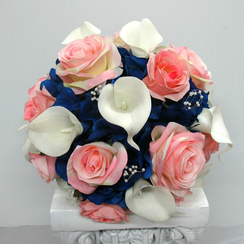 Amazon Com Royal Blue And White Calla Lily Silk Flower Wedding