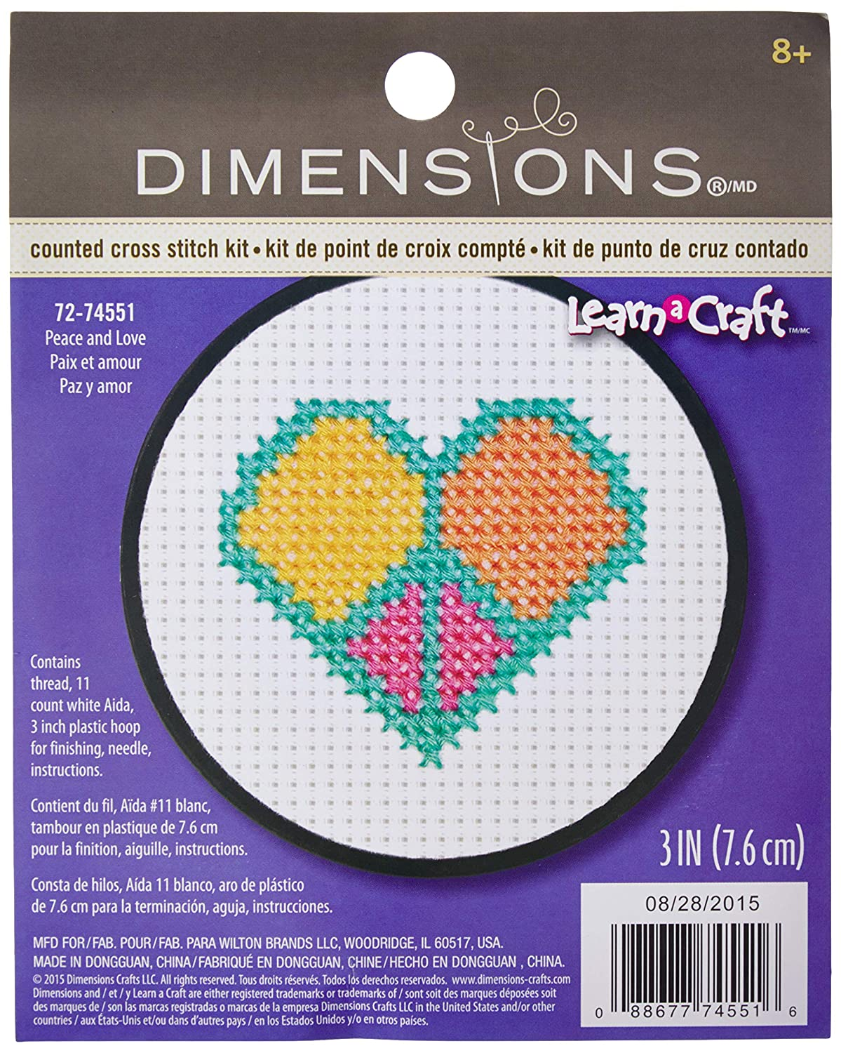 Dimensions Peace and Love Counted Cross Stitch Kit, 72-74551