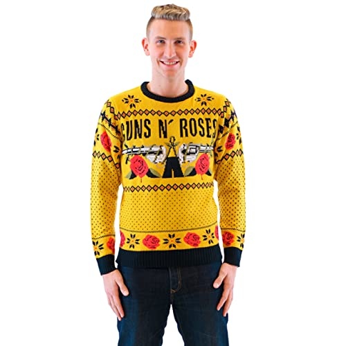 guns n roses text and logo adult mustard ugly christmas sweater - Band Christmas Sweaters