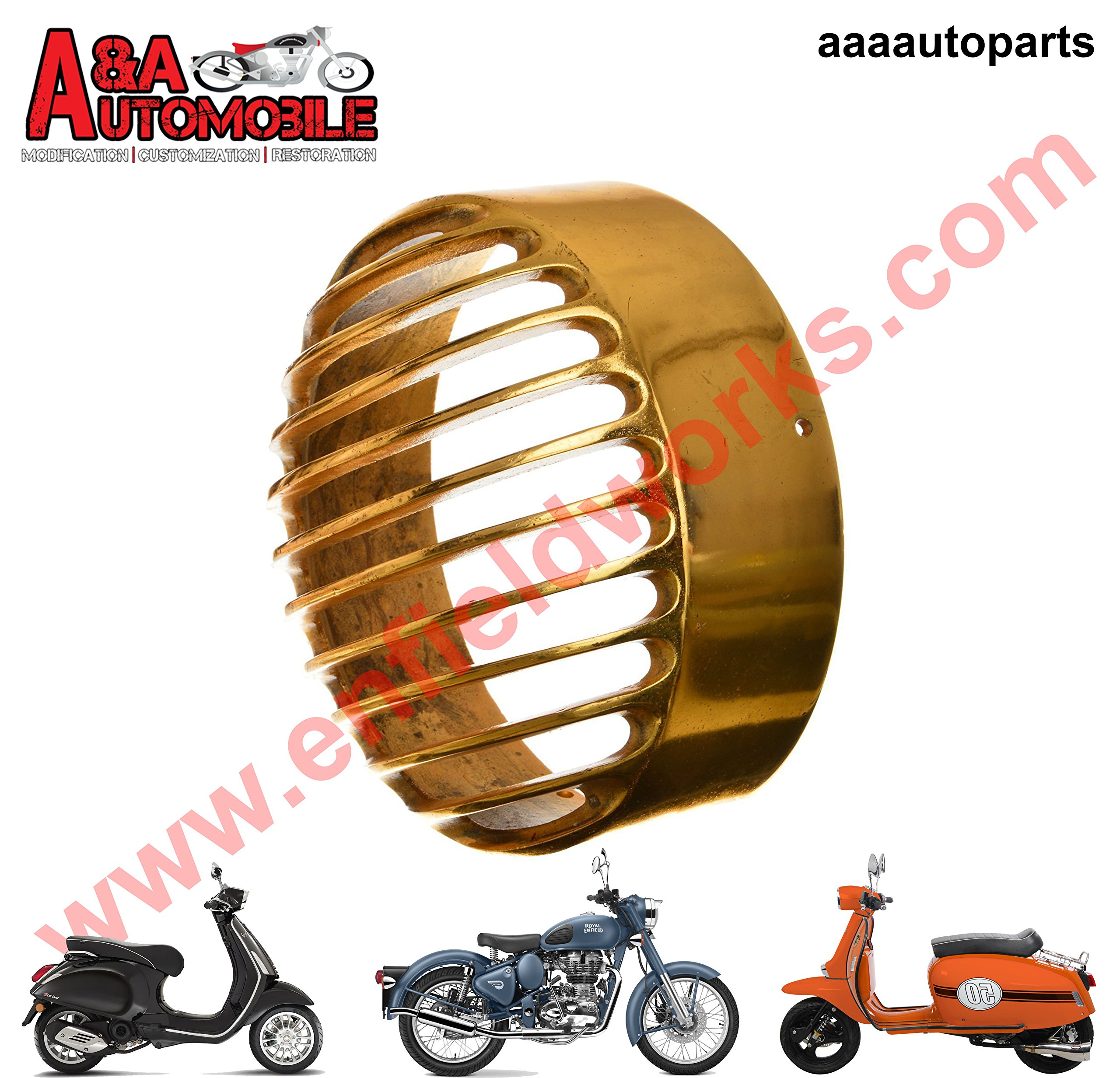A&A Automobile Vintage Brass Royal Enfield Bullet 7'' Headlight LAMP Bezel Grill Grille Cover