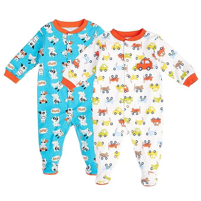 b4c0ff39d Pekkle Baby - Conjunto de 2 pijama unisex para dormir, dormir y jugar, 3