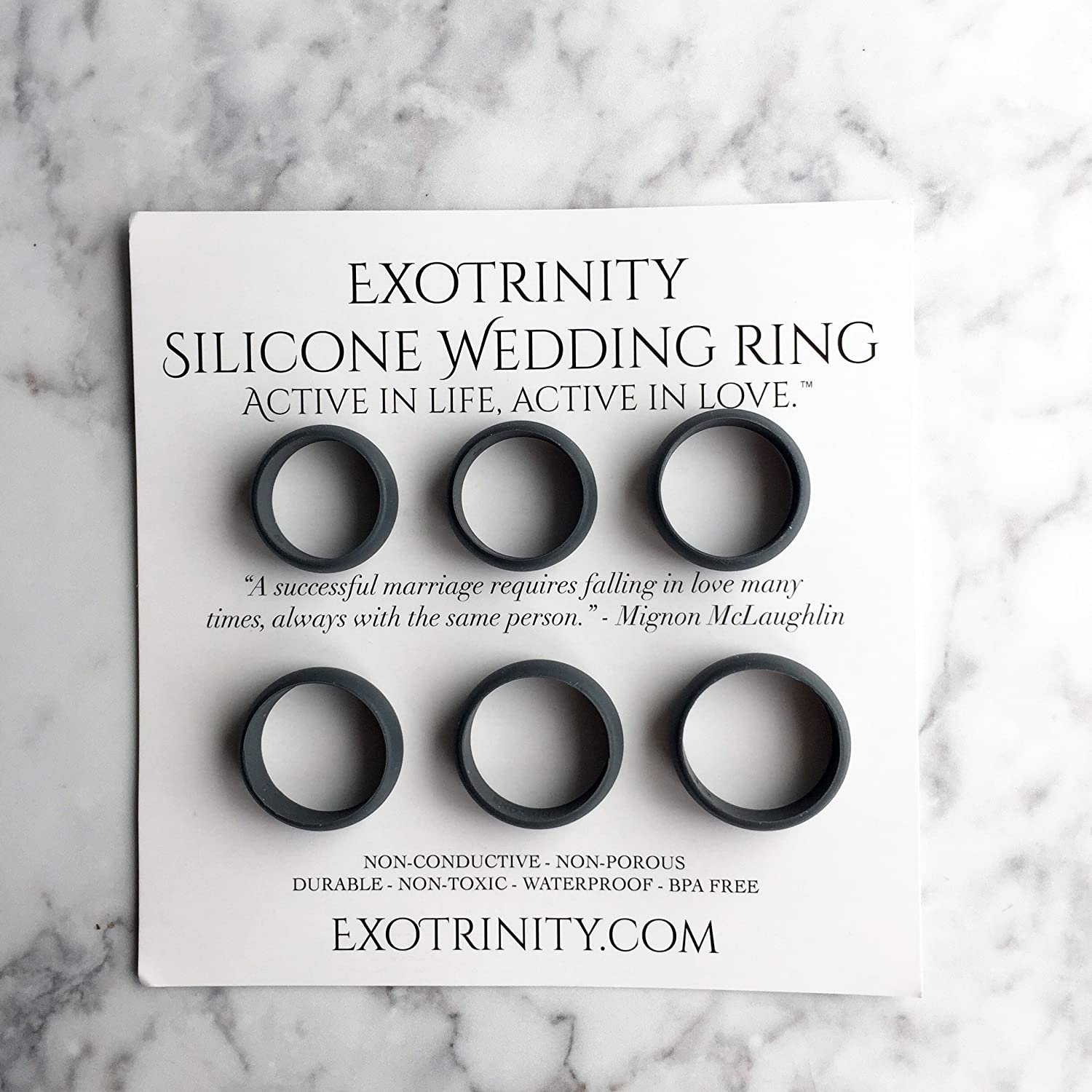 Amazon 6 Men s Silicone Wedding Ring Bands All Sizes In e