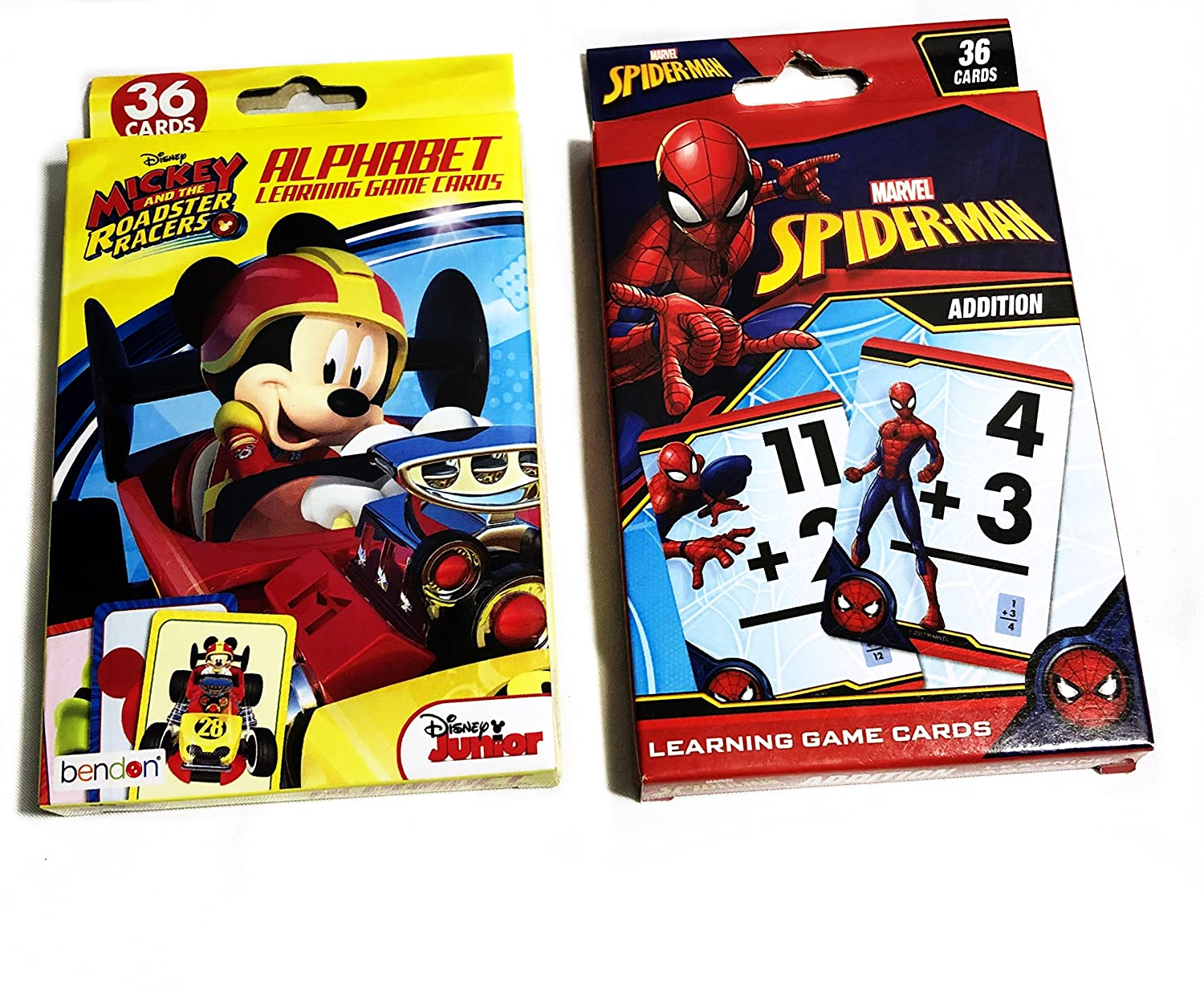 Jumbo Kids Cards Spiderman Mickey Mouse The Roadsters Racers Learning Game Cards | 2 Pack | 36 Cards In Each Pack| Addition Alphabet Cards