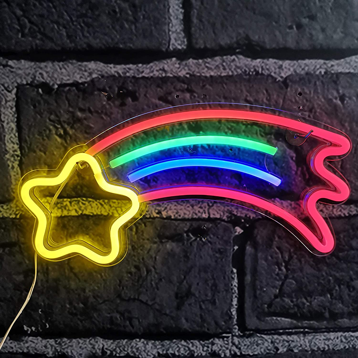 Meteor Neon Lights, Festival Neon Wall Signs Light Art Neon Sign for Home Decoration,Bedroom, Lounge, Office, Wedding, Christmas, Valentine's Day Party Operated by USB