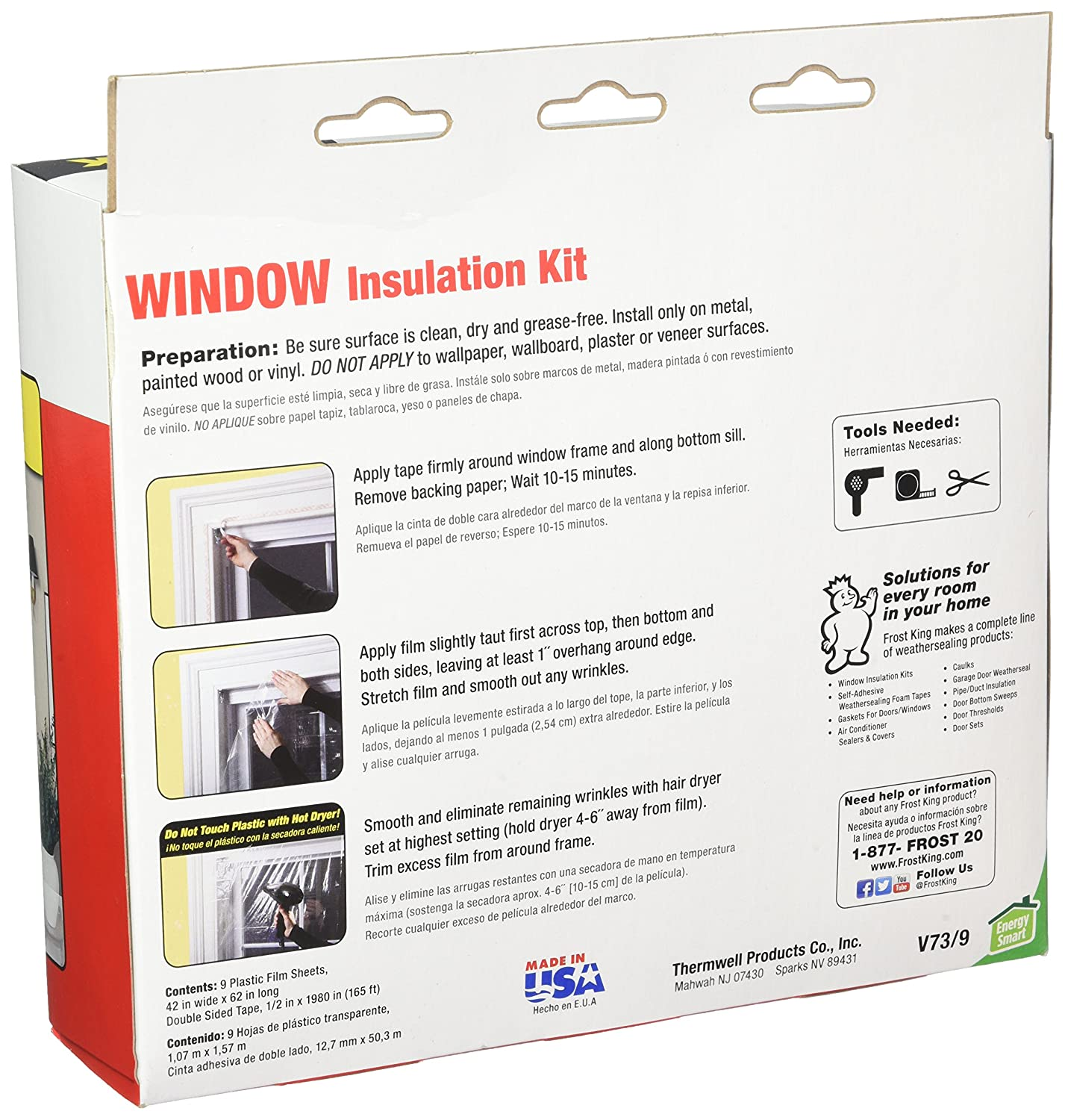Frost King V73/9H Indoor Shrink Window Kit 42-Inch by 62-Inch, Clear ...