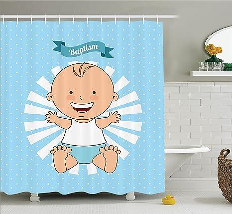 Bautismo decoración cortina de ducha Set por Ambesonne, bautismo diseño Happy Boy bautizo rayas lunares