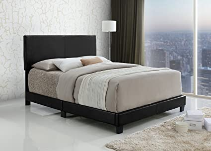 Amazon.com: Black Bonded Leather Queen Size Upholstered Headboard ...
