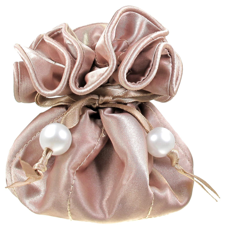 TropicaZona Satin Drawstring Jewelry Pouch, 16 Pockets, Black NBS-96-101