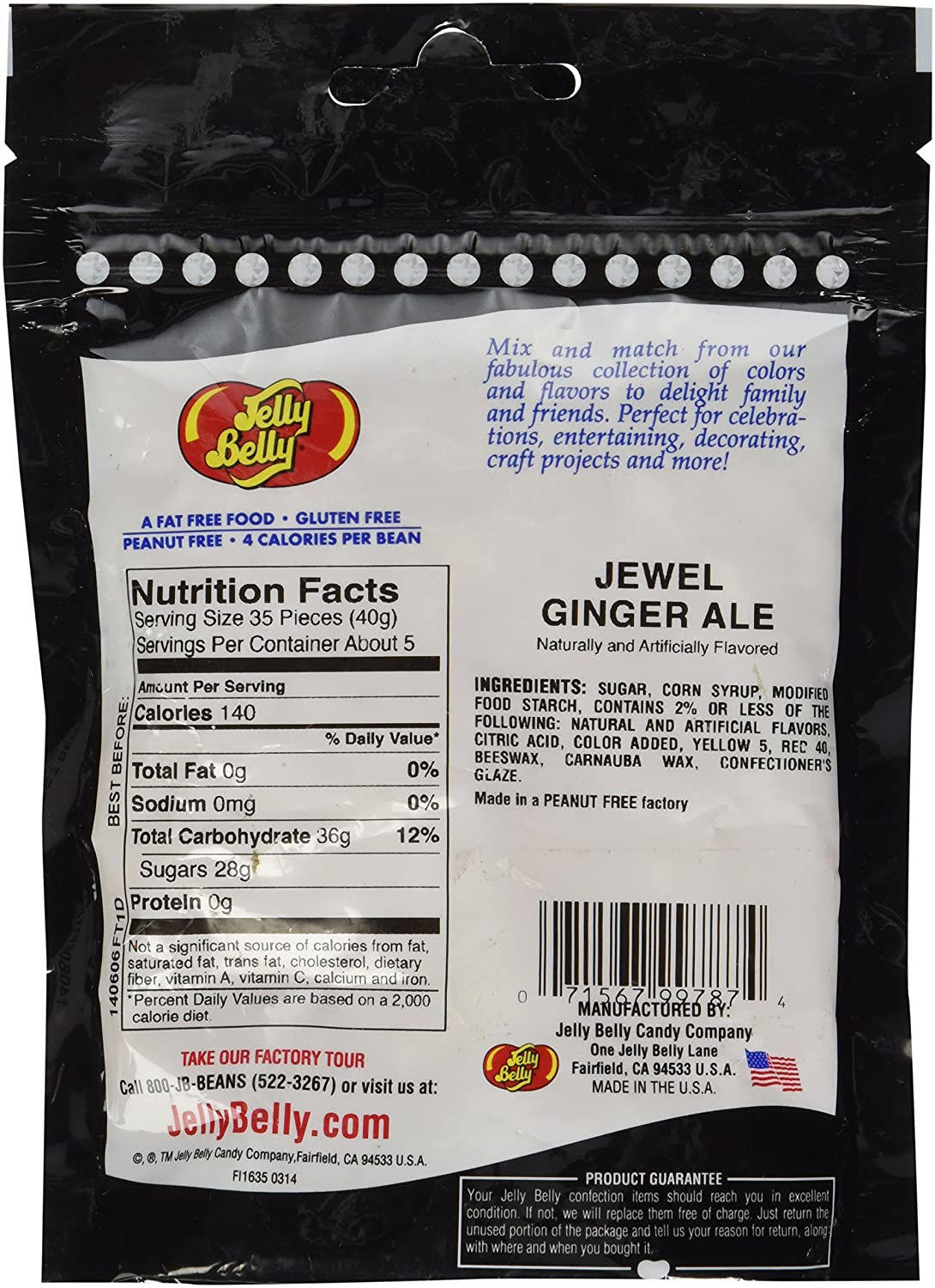 Amazon.com : Jewel Ginger Ale Jelly Beans- 7.5 oz Party Bag : Grocery & Gourmet Food