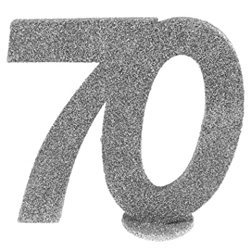 Cama24com Xxl Tischdeko Zahl 70 Geburtstag Silber Glitzer 1 Stuck