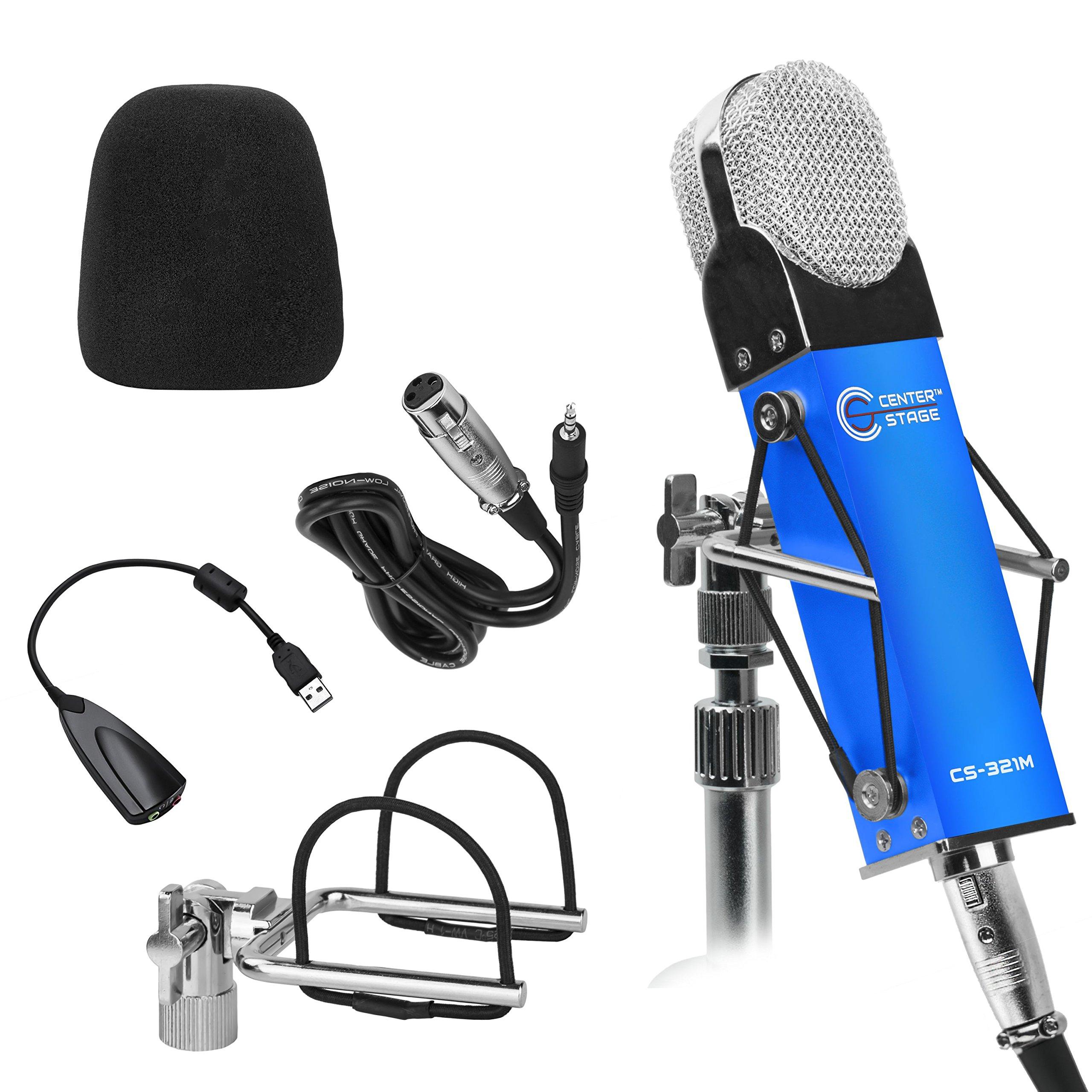 CenterStage CS-321M Studio Broadcast Podcast y kit de paquete de micrófono de condensador de grabación vocal con Shockmo
