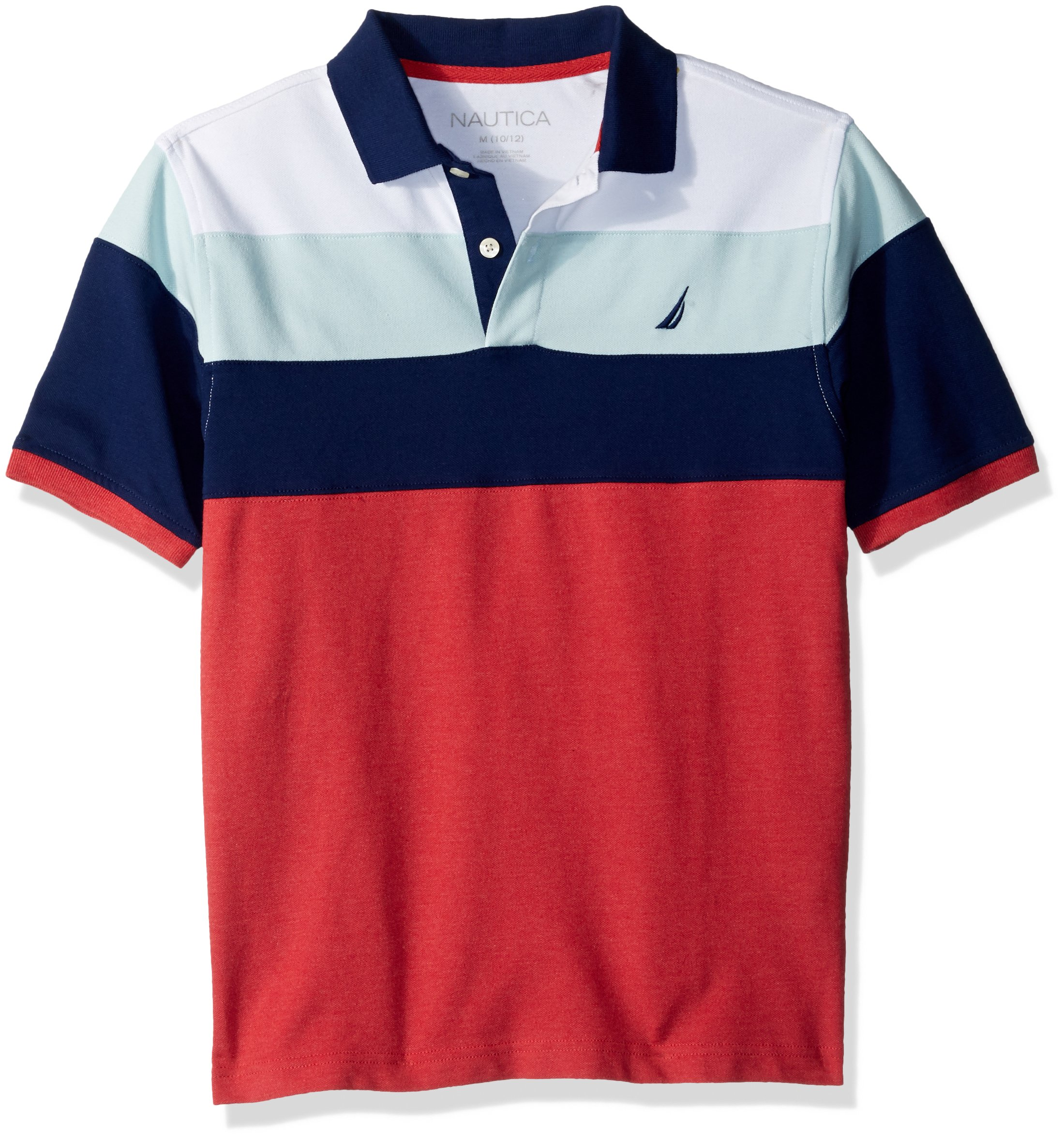 Nautica Boys' Short Sleeve Colorblock Deck Polo Shirt, Seacliff Ruby with Stretch, 7