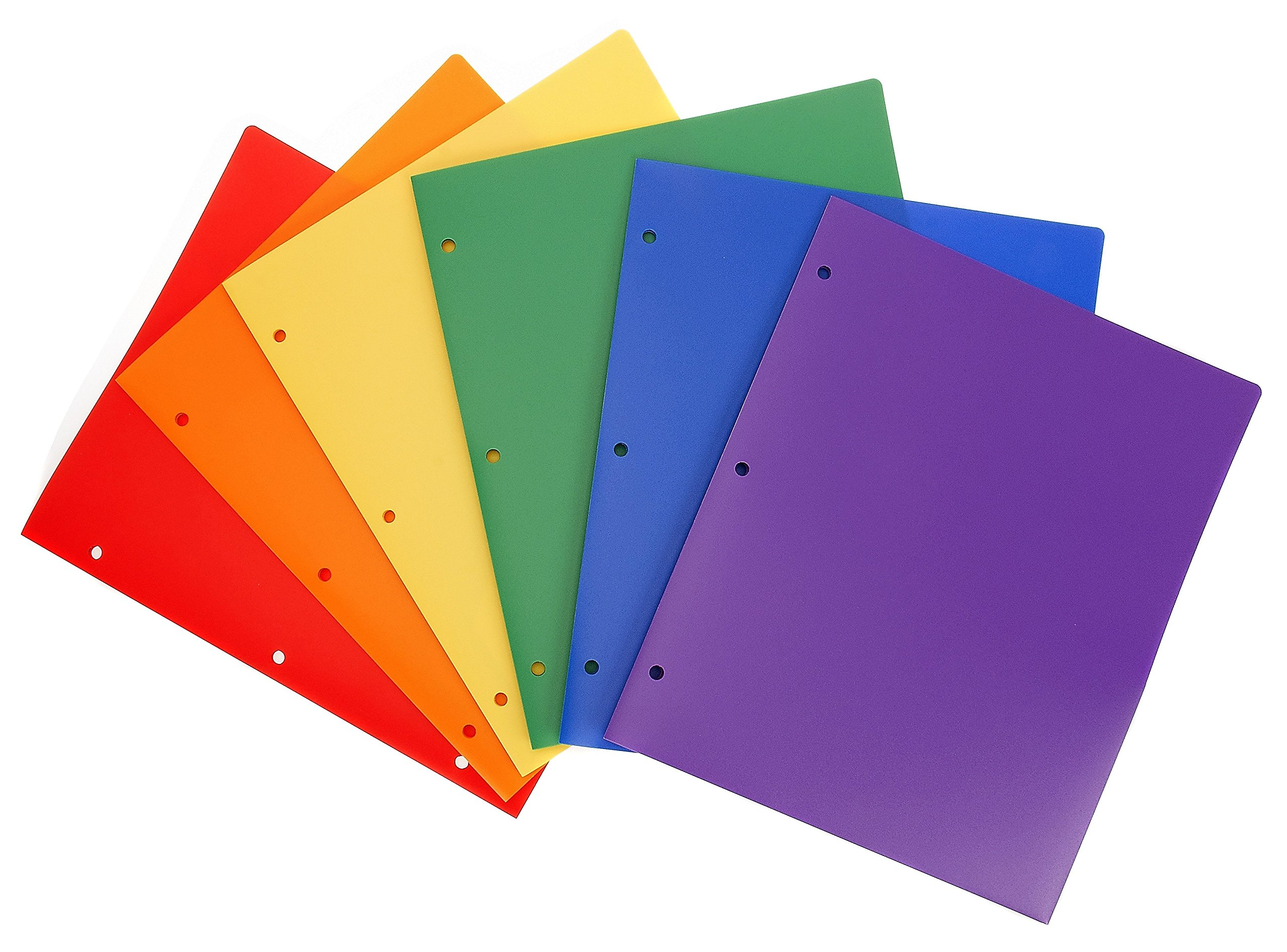 STEMSFX Heavy Duty Plastic 2 Pocket Folder Hole Punched (Pack of 6 Folders Assorted Colors) For Letter Size Papers, Includes Business Card Slot