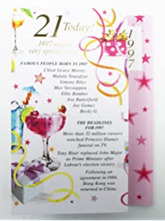 21 Today 1997 Special Year Born Happy Birthday Card Facts Quality Her Verse